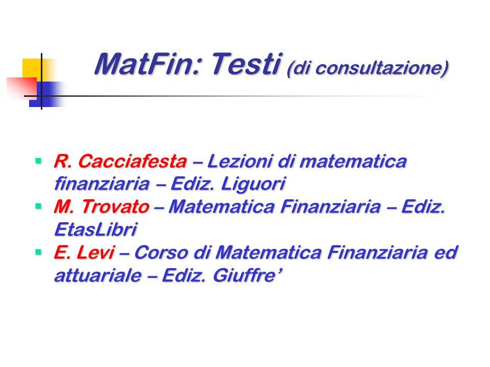 MatFin: Testi (di introduzione) MatFin: Testi (di introduzione) C. Iodice – Compendio di matematica C. Iodice – Compendio di matematica finanziaria (c