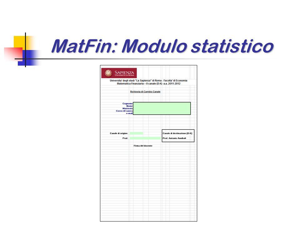 MatFin: Modulo statistico MatFin: Modulo statistico
