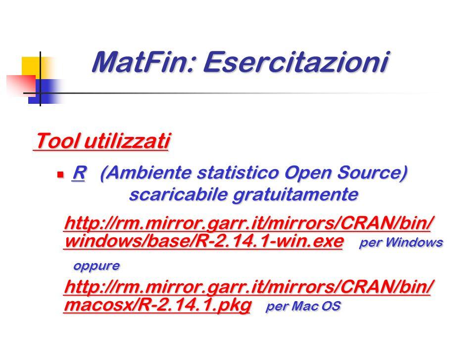 MatFin: Esercitazioni MatFin: Esercitazioni Tool utilizzati Microsoft Excel Microsoft Excel a disposizione sulle workstation di laboratorio Dyalog APL