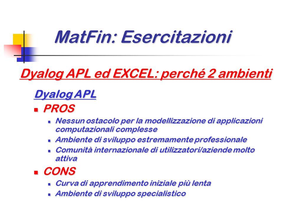 MatFin: Esercitazioni MatFin: Esercitazioni Dyalog APL ed EXCEL: perché 2 ambienti EXCEL PROS PROS Rapida curva di apprendimento iniziale Rapida curva
