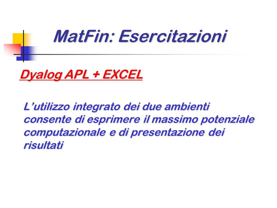 MatFin: Esercitazioni MatFin: Esercitazioni Dyalog APL ed EXCEL: perché 2 ambienti Dyalog APL PROS PROS Nessun ostacolo per la modellizzazione di appl