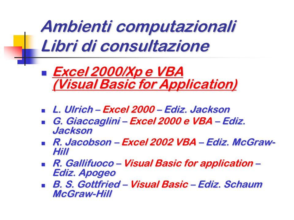 Ambienti computazionali Libri di consultazione Matematica discreta Matematica discreta R. L. Graham, D. E. Knuth, O. Patashnik – Matematica discreta –