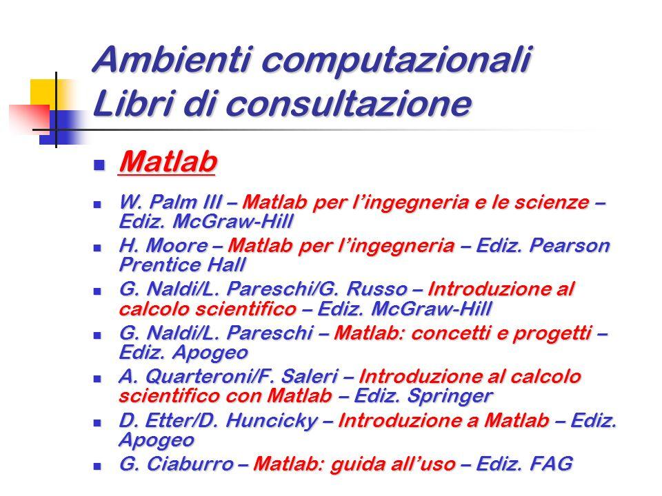 Ambienti computazionali Libri di consultazione Excel 2000/Xp e VBA (Visual Basic for Application) Excel 2000/Xp e VBA (Visual Basic for Application) L