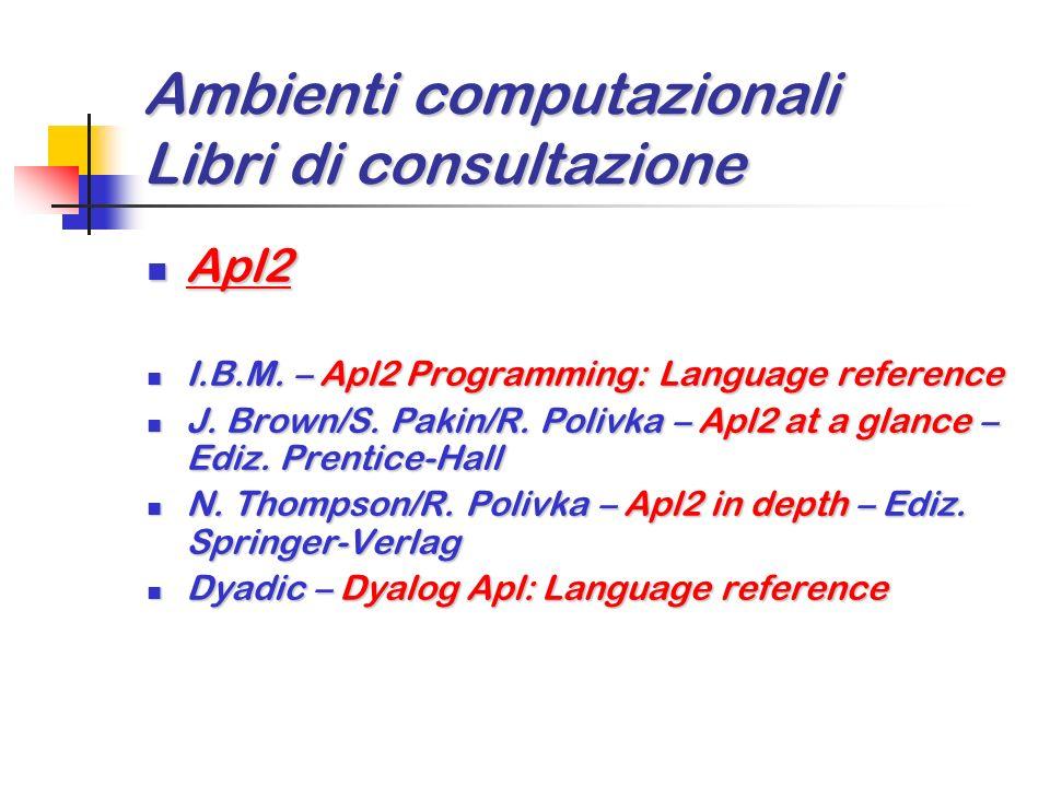 Ambienti computazionali Libri di consultazione Matlab Matlab W. Palm III – Matlab per lingegneria e le scienze – Ediz. McGraw-Hill W. Palm III – Matla