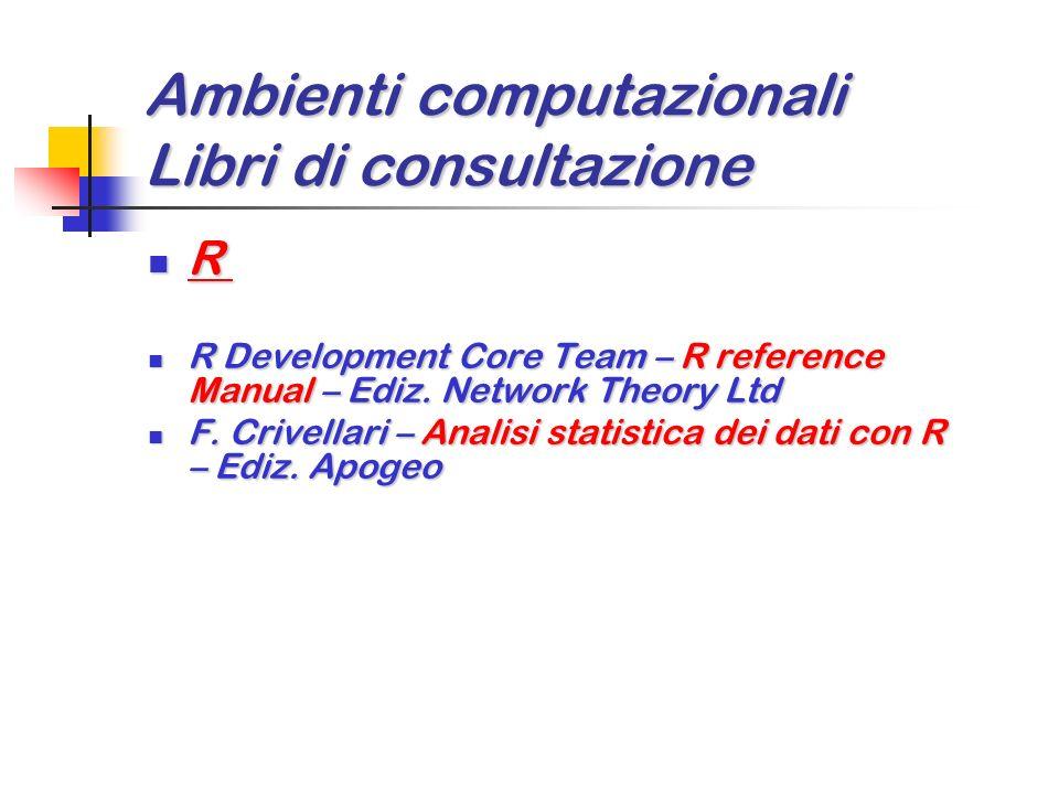 Ambienti computazionali Libri di consultazione J 5.02 (Ediz. Jsoftware) J 5.02 (Ediz. Jsoftware) R. Stokes – Learning J R. Stokes – Learning J L. Alvo