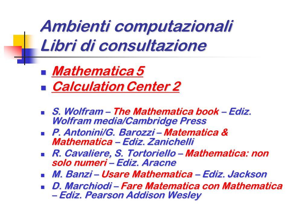 Ambienti computazionali Libri di consultazione Maple 7 Maple 7 Waterloo – Maple 7: learning guide Waterloo – Maple 7: learning guide K. Heal/M. Hansen