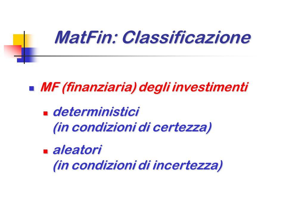 MatFin: Classificazione MatFin: Classificazione MF (finanziaria) degli investimenti MF (finanziaria) degli investimenti deterministici deterministici (in condizioni di certezza) aleatori aleatori (in condizioni di incertezza)
