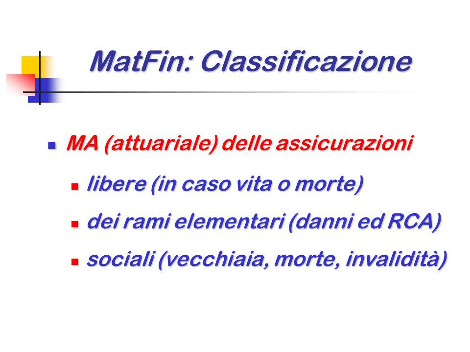 MatFin: Classificazione MatFin: Classificazione MA (attuariale) delle assicurazioni MA (attuariale) delle assicurazioni libere (in caso vita o morte) libere (in caso vita o morte) dei rami elementari (danni ed RCA) dei rami elementari (danni ed RCA) sociali (vecchiaia, morte, invalidità) sociali (vecchiaia, morte, invalidità)