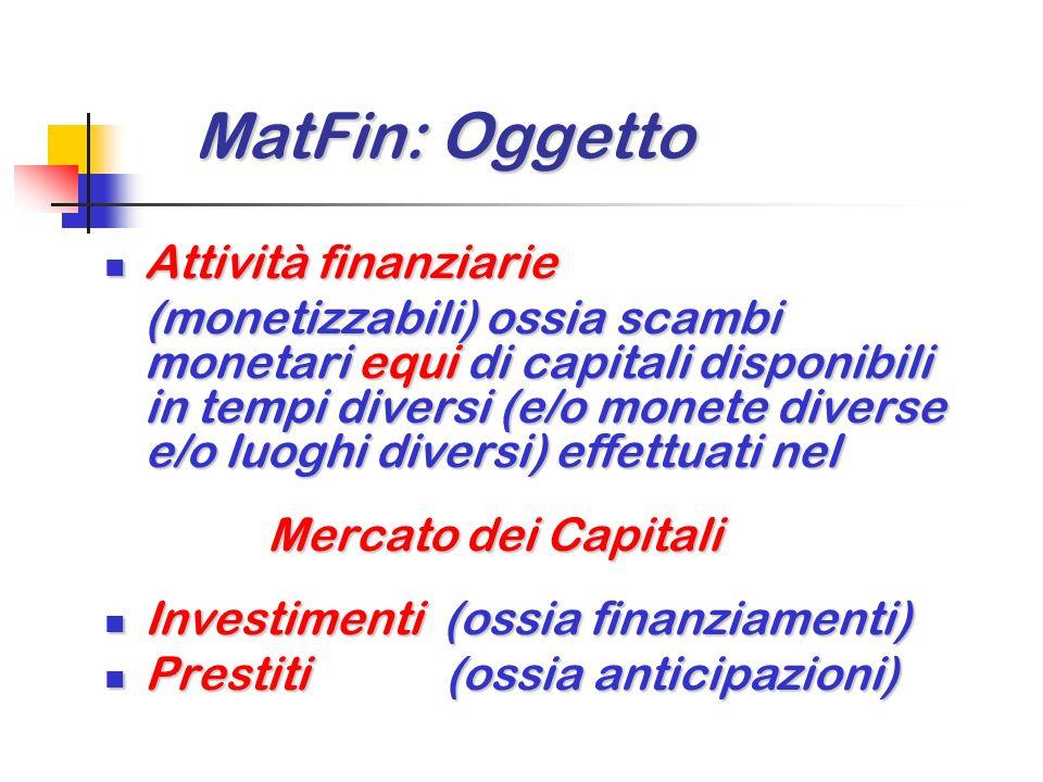 MatFin: Oggetto MatFin: Oggetto Attività finanziarie Attività finanziarie (monetizzabili) ossia scambi monetari equi di capitali disponibili in tempi diversi (e/o monete diverse e/o luoghi diversi) effettuati nel Mercato dei Capitali Mercato dei Capitali Investimenti (ossia finanziamenti) Investimenti (ossia finanziamenti) Prestiti (ossia anticipazioni) Prestiti (ossia anticipazioni)