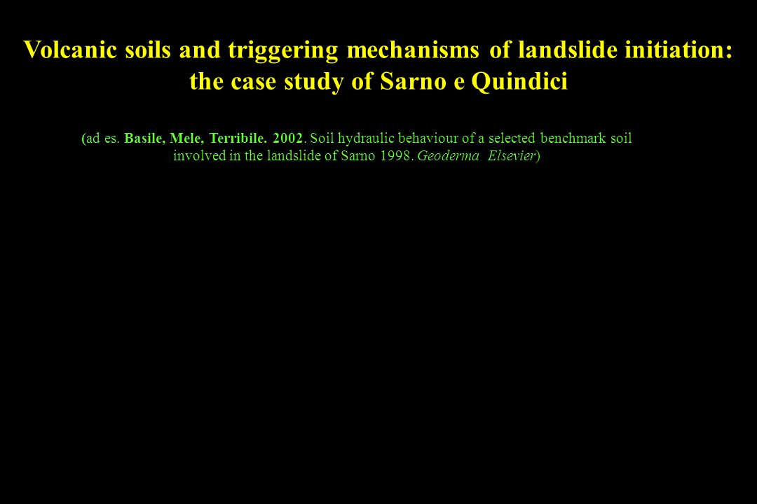 Volcanic soils and triggering mechanisms of landslide initiation: the case study of Sarno e Quindici (ad es.