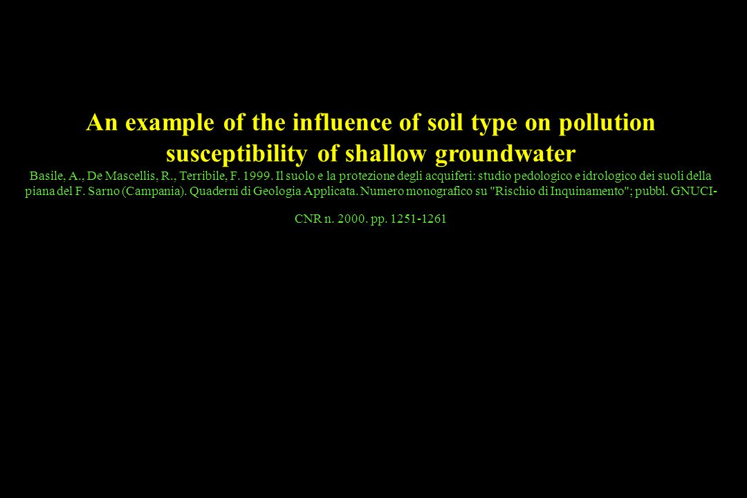 Tipologia di modelli utilizzati An example of the influence of soil type on pollution susceptibility of shallow groundwater Basile, A., De Mascellis, R., Terribile, F.