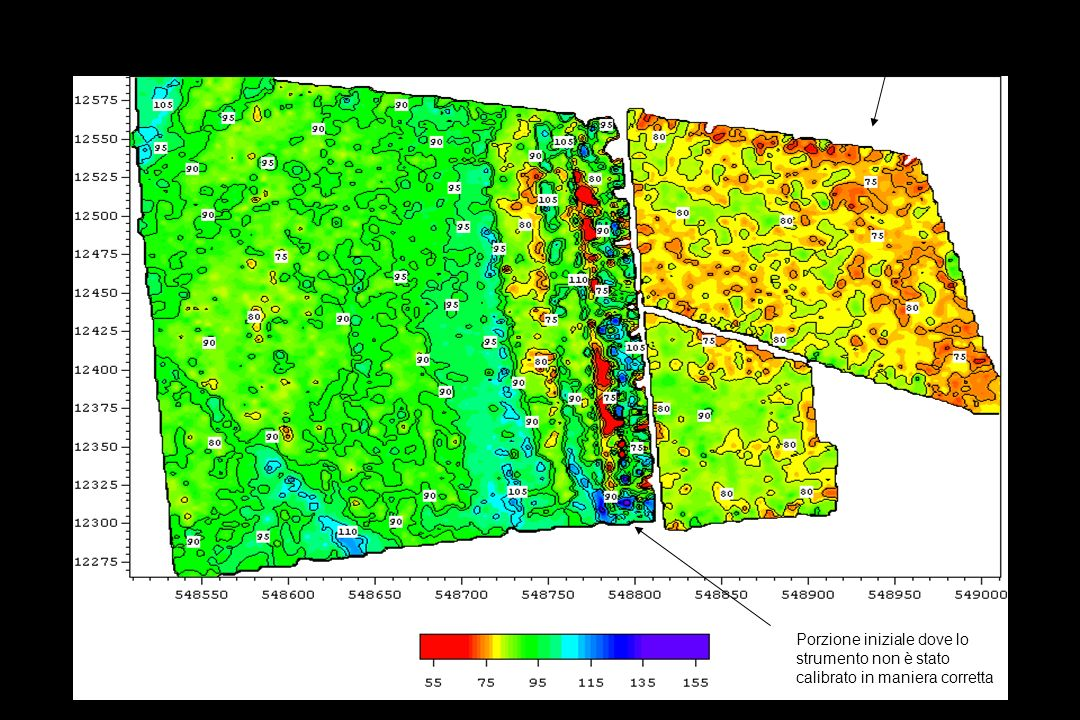 Area 1 bobine verticali profondità 1.5m circa misure conducibilità mS/m Prato: Area non coltivata Porzione iniziale dove lo strumento non è stato calibrato in maniera corretta