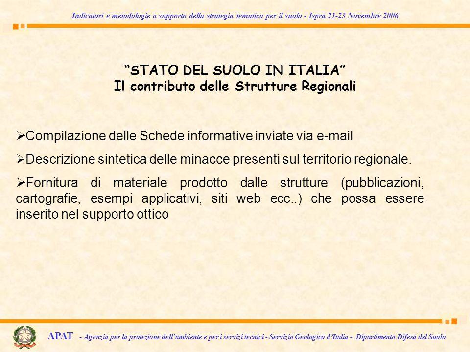 STATO DEL SUOLO IN ITALIA Il contributo delle Strutture Regionali Compilazione delle Schede informative inviate via e-mail Descrizione sintetica delle minacce presenti sul territorio regionale.