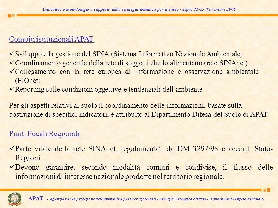 Parte vitale della rete SINAnet, regolamentati da DM 3297/98 e accordi Stato- Regioni Devono garantire, secondo modalità comuni e condivise, il flusso delle informazioni di interesse nazionale prodotte nel territorio regionale.