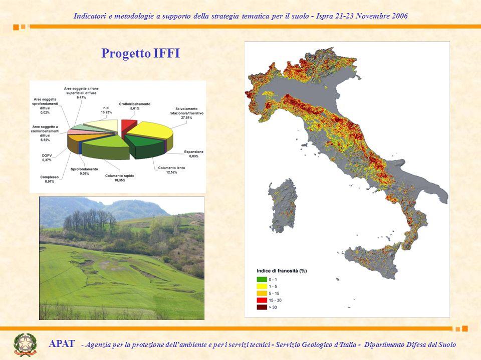 APAT - Agenzia per la protezione dellambiente e per i servizi tecnici - Servizio Geologico dItalia - Dipartimento Difesa del Suolo Indicatori e metodologie a supporto della strategia tematica per il suolo - Ispra 21-23 Novembre 2006 Progetto IFFI