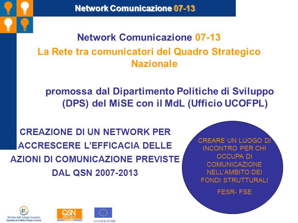 Network Comunicazione 07-13 La Rete tra comunicatori del Quadro Strategico Nazionale promossa dal Dipartimento Politiche di Sviluppo (DPS) del MiSE co