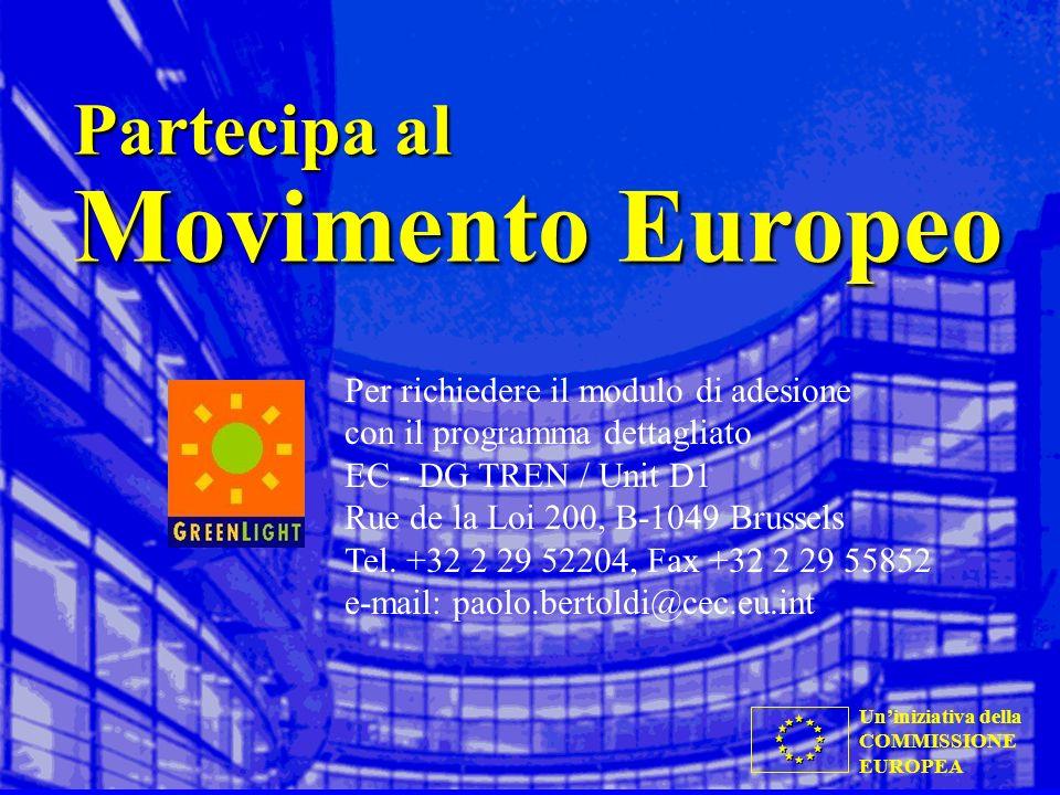 Uniniziativa della COMMISSIONE EUROPEA Partecipa al Movimento Europeo Per richiedere il modulo di adesione con il programma dettagliato EC - DG TREN / Unit D1 Rue de la Loi 200, B-1049 Brussels Tel.