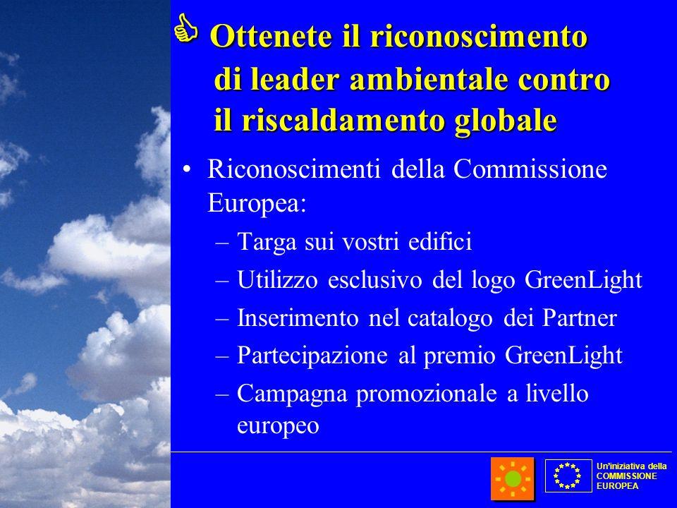 Uniniziativa della COMMISSIONE EUROPEA Ottenete il riconoscimento di leader ambientale contro il riscaldamento globale Ottenete il riconoscimento di l