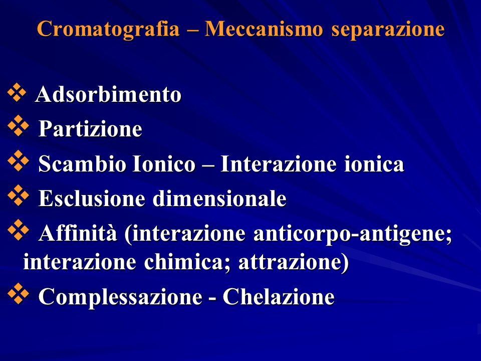 Cromatografia – Meccanismo separazione Adsorbimento Adsorbimento Partizione Partizione Scambio Ionico – Interazione ionica Scambio Ionico – Interazion