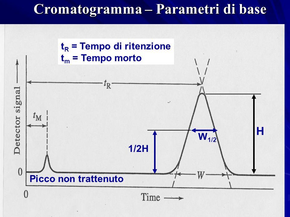 Cromatogramma – Parametri di base t R = Tempo di ritenzione t m = Tempo morto H 1/2H W 1/2 Picco non trattenuto