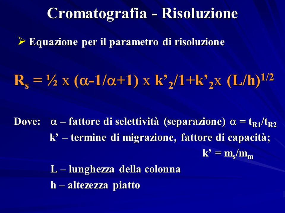 Cromatografia - Risoluzione Equazione per il parametro di risoluzione Equazione per il parametro di risoluzione R s = ½ x ( -1/ +1) x k 2 /1+k 2 x (L/