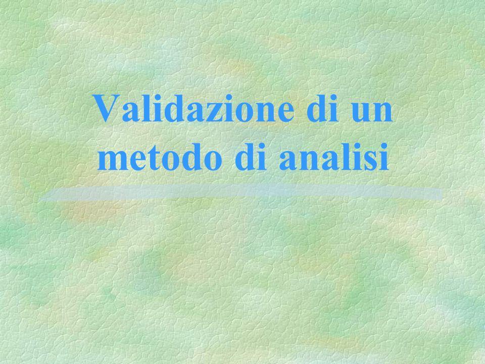 Linearità §La linearità di un metodo analitico è la sua abilità di dare risultati che sono direttamente proporzionali alla concentrazione degli analiti nei campioni allinterno di un determinato campo di validità §la proporzionalità può essere raggiunta anche attraverso trasformazioni matematiche ben definite