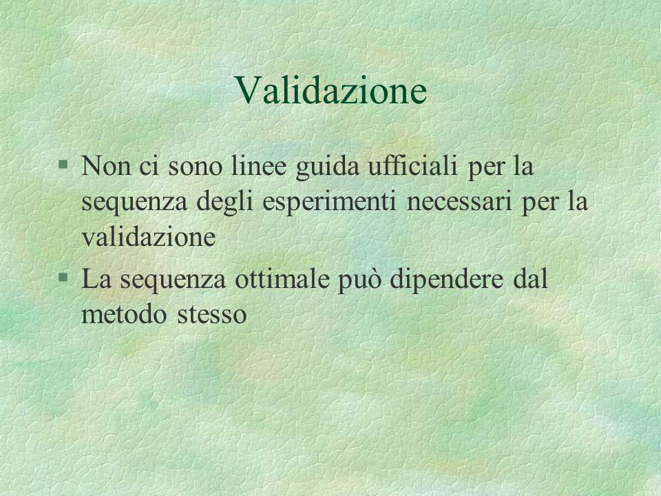 Validazione §Non ci sono linee guida ufficiali per la sequenza degli esperimenti necessari per la validazione §La sequenza ottimale può dipendere dal