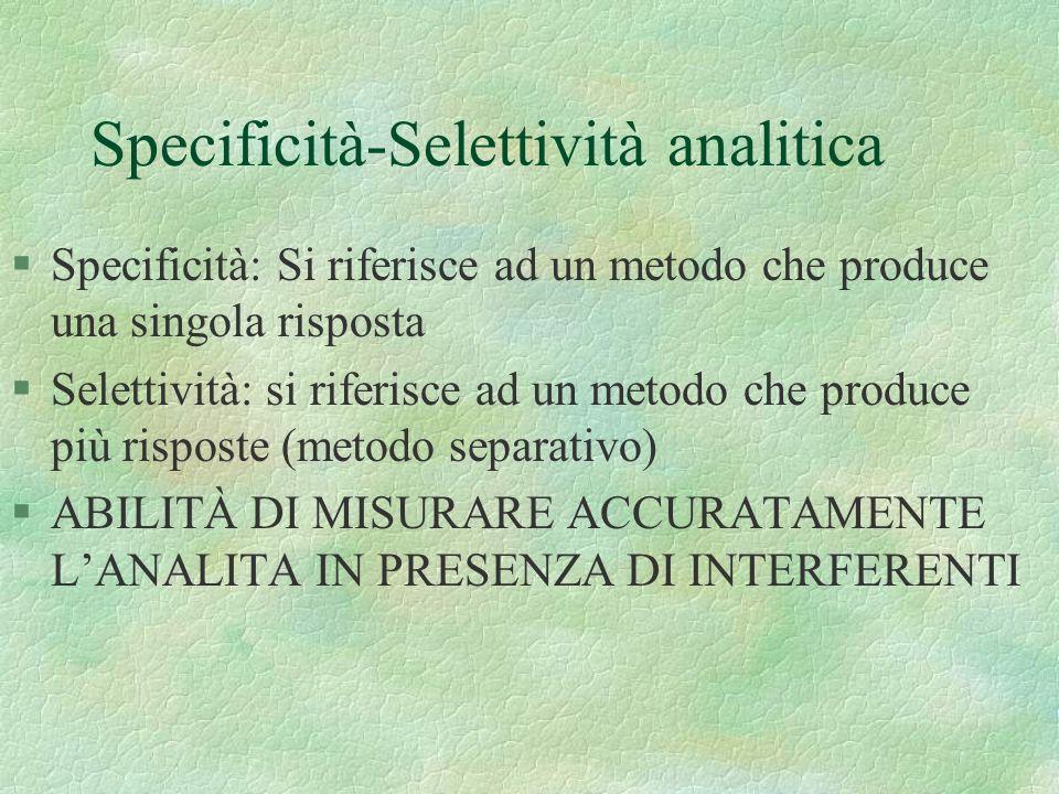 §Specificità: Si riferisce ad un metodo che produce una singola risposta §Selettività: si riferisce ad un metodo che produce più risposte (metodo sepa