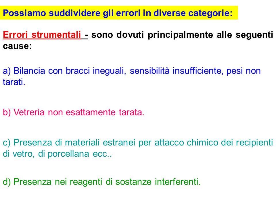 Possiamo suddividere gli errori in diverse categorie: Errori strumentali - sono dovuti principalmente alle seguenti cause: a) Bilancia con bracci ineg