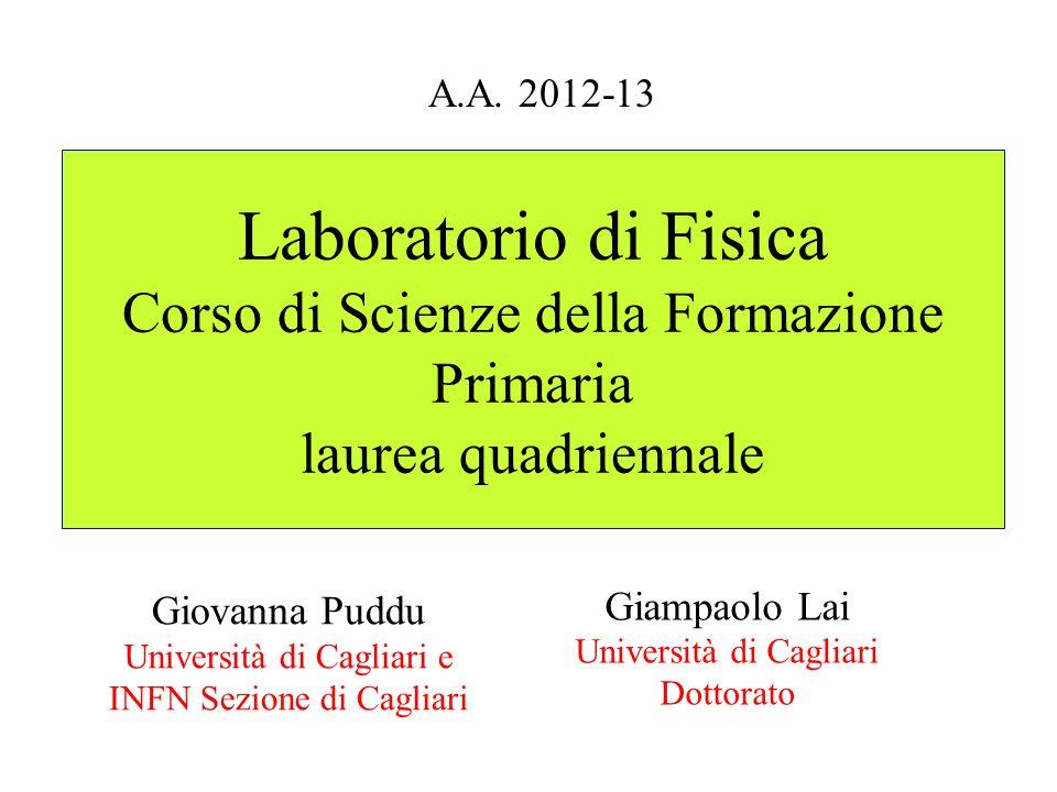 Laboratorio di Fisica Corso di Scienze della Formazione Primaria laurea quadriennale Giampaolo Lai Università di Cagliari Dottorato A.A. 2012-13 Giova