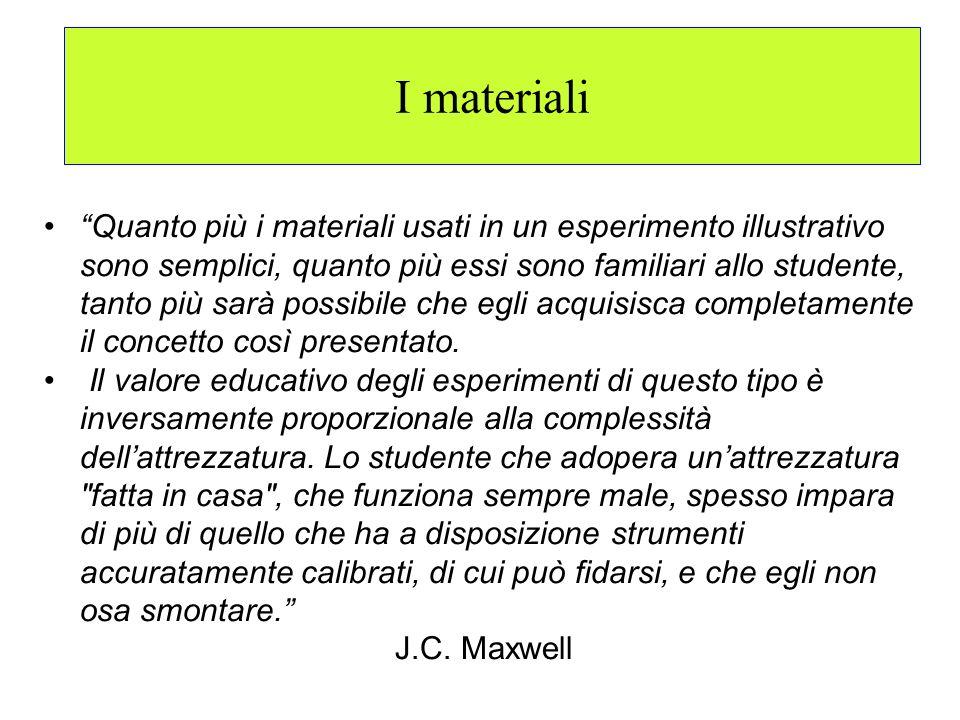 I materiali Quanto più i materiali usati in un esperimento illustrativo sono semplici, quanto più essi sono familiari allo studente, tanto più sarà po