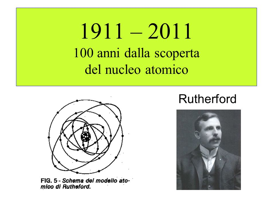 1911 – 2011 100 anni dalla scoperta del nucleo atomico Rutherford