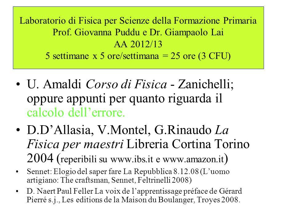 Laboratorio di Fisica per Scienze della Formazione Primaria Prof. Giovanna Puddu e Dr. Giampaolo Lai AA 2012/13 5 settimane x 5 ore/settimana = 25 ore