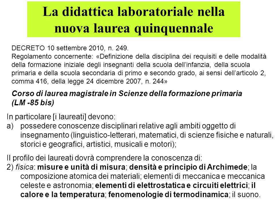 La didattica laboratoriale nella nuova laurea quinquennale DECRETO 10 settembre 2010, n. 249. Regolamento concernente: «Definizione della disciplina d
