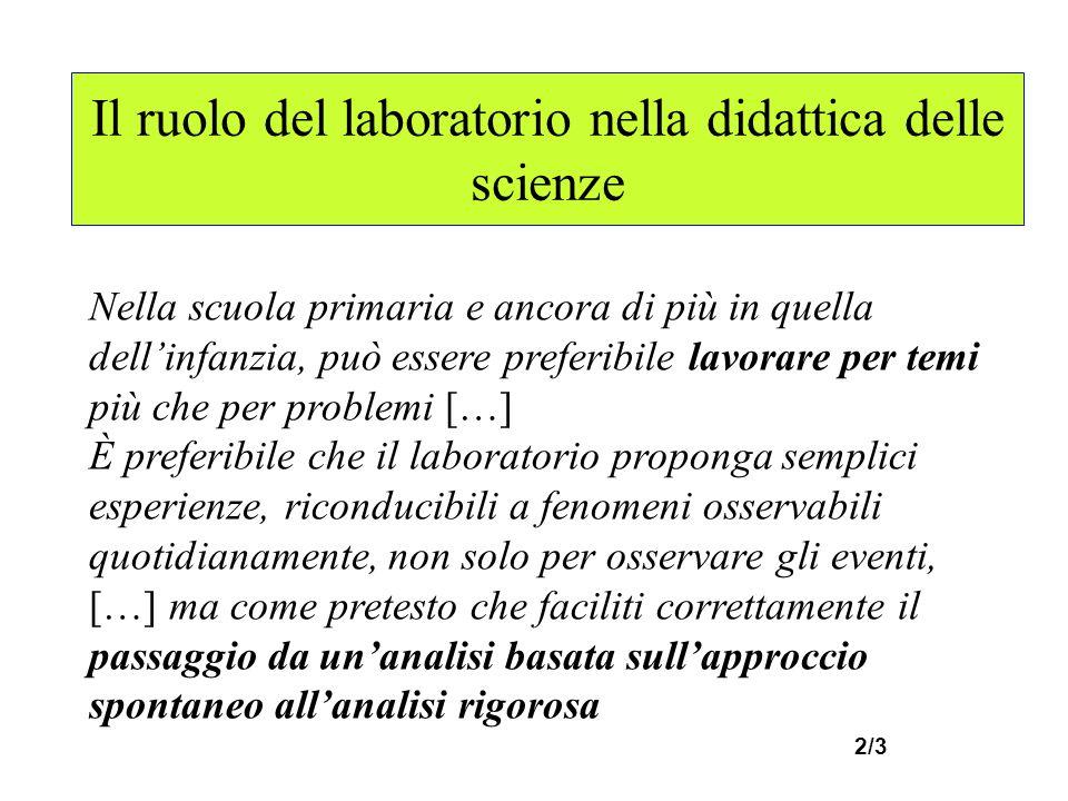 Il ruolo del laboratorio nella didattica delle scienze Nella scuola primaria e ancora di più in quella dellinfanzia, può essere preferibile lavorare p