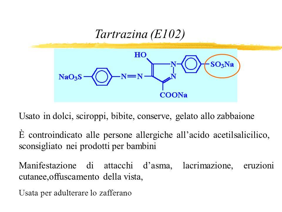Tartrazina (E102) Usato in dolci, sciroppi, bibite, conserve, gelato allo zabbaione È controindicato alle persone allergiche allacido acetilsalicilico