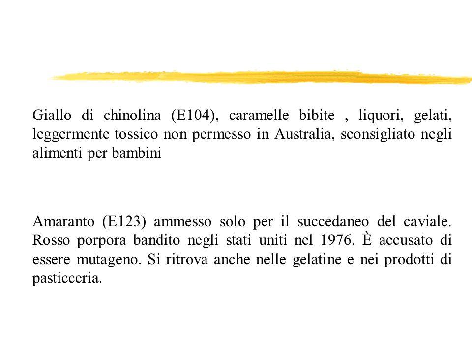 Giallo di chinolina (E104), caramelle bibite, liquori, gelati, leggermente tossico non permesso in Australia, sconsigliato negli alimenti per bambini