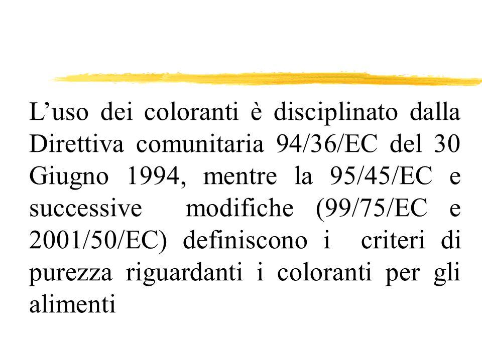 Luso dei coloranti è disciplinato dalla Direttiva comunitaria 94/36/EC del 30 Giugno 1994, mentre la 95/45/EC e successive modifiche (99/75/EC e 2001/