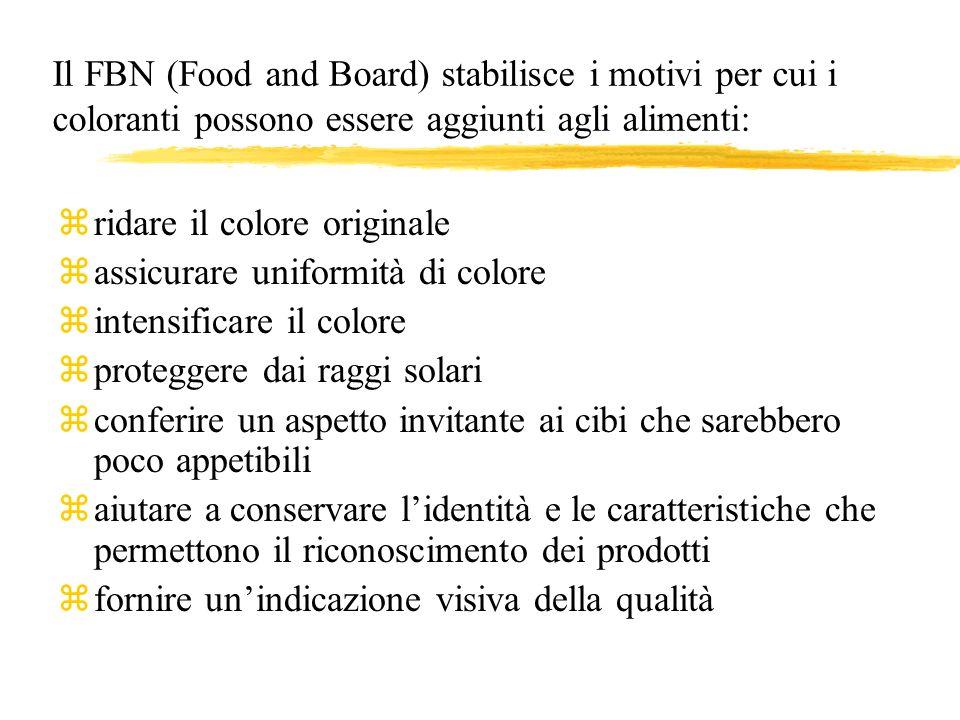 Il FBN (Food and Board) stabilisce i motivi per cui i coloranti possono essere aggiunti agli alimenti: zridare il colore originale zassicurare uniform