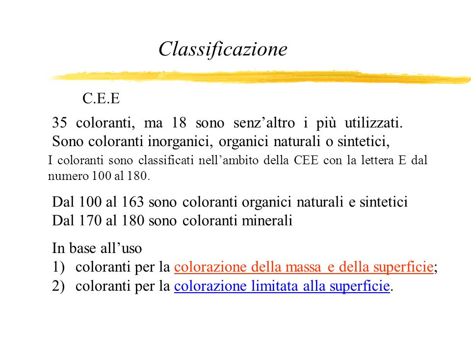 Classificazione In base alluso 1)coloranti per la colorazione della massa e della superficie; 2)coloranti per la colorazione limitata alla superficie.