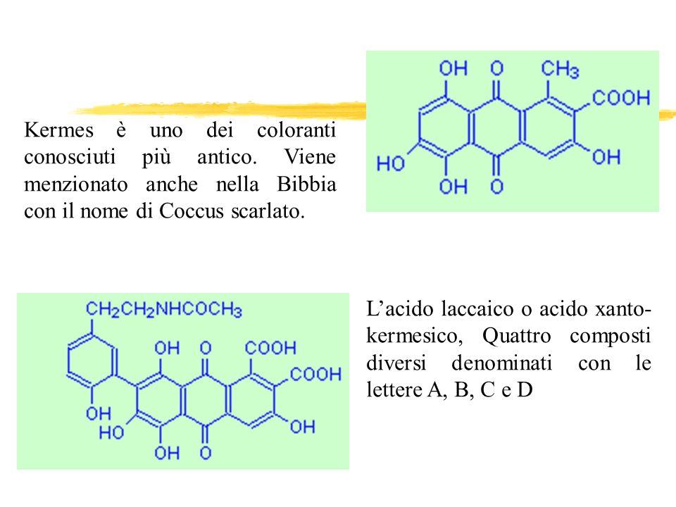 Kermes è uno dei coloranti conosciuti più antico. Viene menzionato anche nella Bibbia con il nome di Coccus scarlato. Lacido laccaico o acido xanto- k