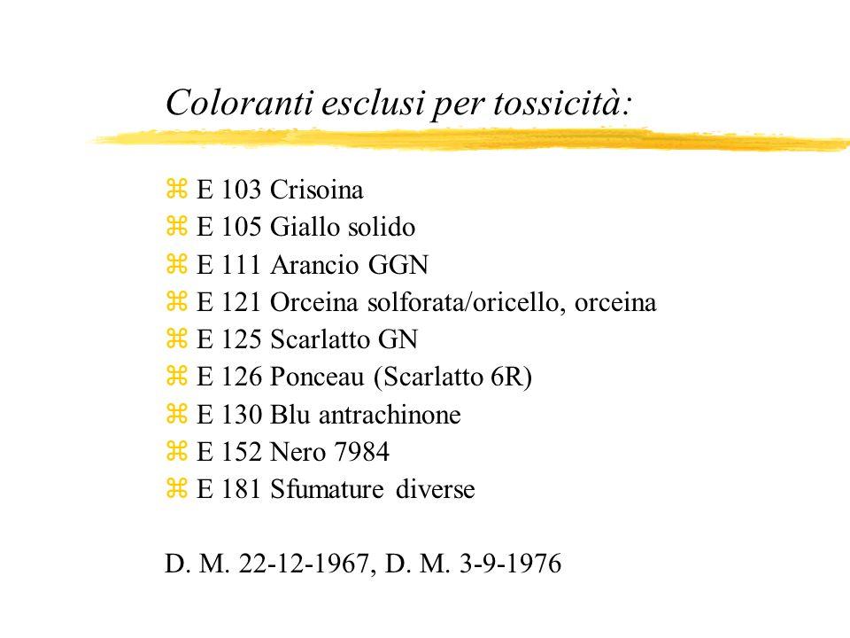 Coloranti esclusi per tossicità: zE 103 Crisoina zE 105 Giallo solido zE 111 Arancio GGN zE 121 Orceina solforata/oricello, orceina zE 125 Scarlatto G