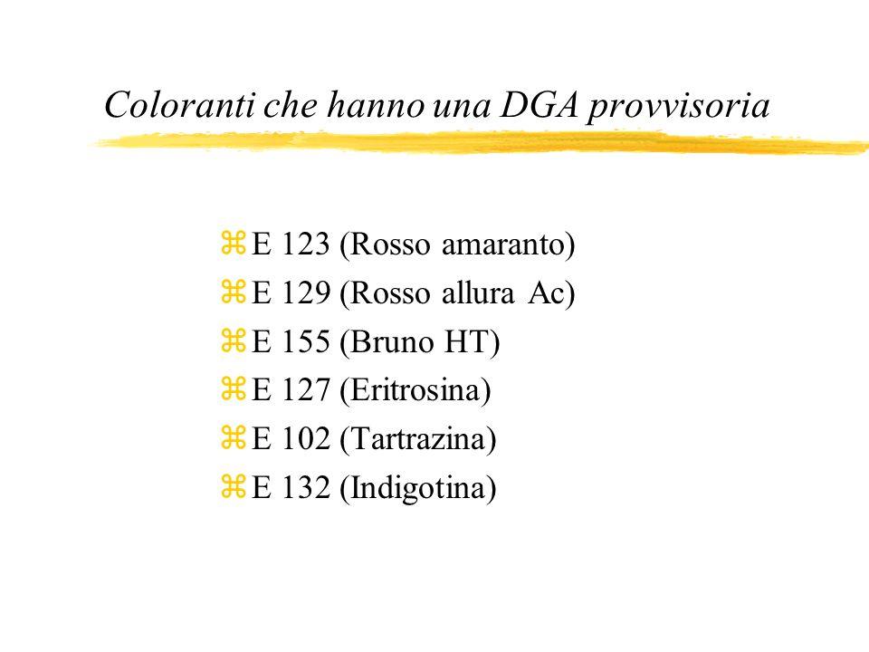 Coloranti che hanno una DGA provvisoria zE 123 (Rosso amaranto) zE 129 (Rosso allura Ac) zE 155 (Bruno HT) zE 127 (Eritrosina) zE 102 (Tartrazina) zE