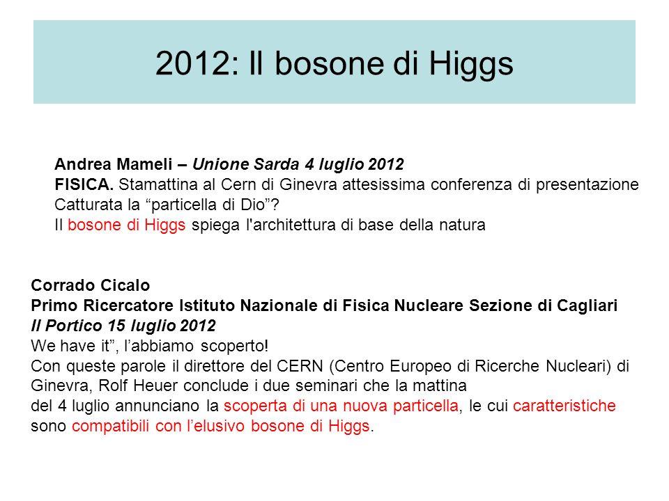 2012: Il bosone di Higgs Andrea Mameli – Unione Sarda 4 luglio 2012 FISICA. Stamattina al Cern di Ginevra attesissima conferenza di presentazione Catt