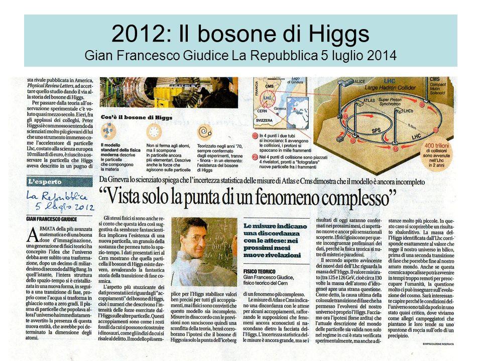 2012: Il bosone di Higgs Gian Francesco Giudice La Repubblica 5 luglio 2014