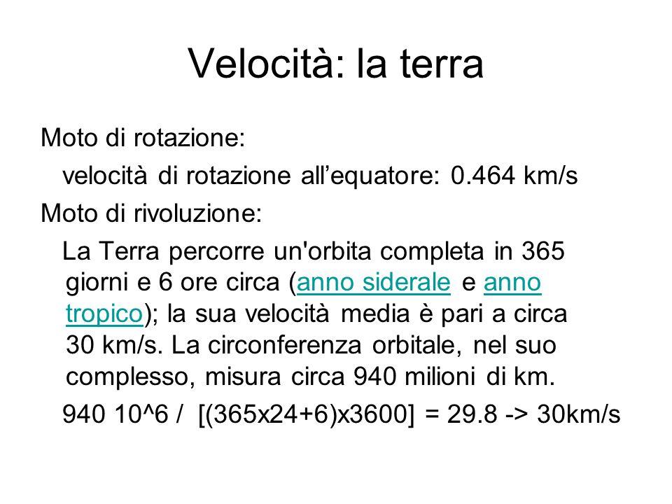 Velocità: la terra Moto di rotazione: velocità di rotazione allequatore: 0.464 km/s Moto di rivoluzione: La Terra percorre un'orbita completa in 365 g