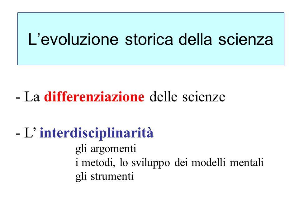 - La differenziazione delle scienze - L interdisciplinarità gli argomenti i metodi, lo sviluppo dei modelli mentali gli strumenti Levoluzione storica