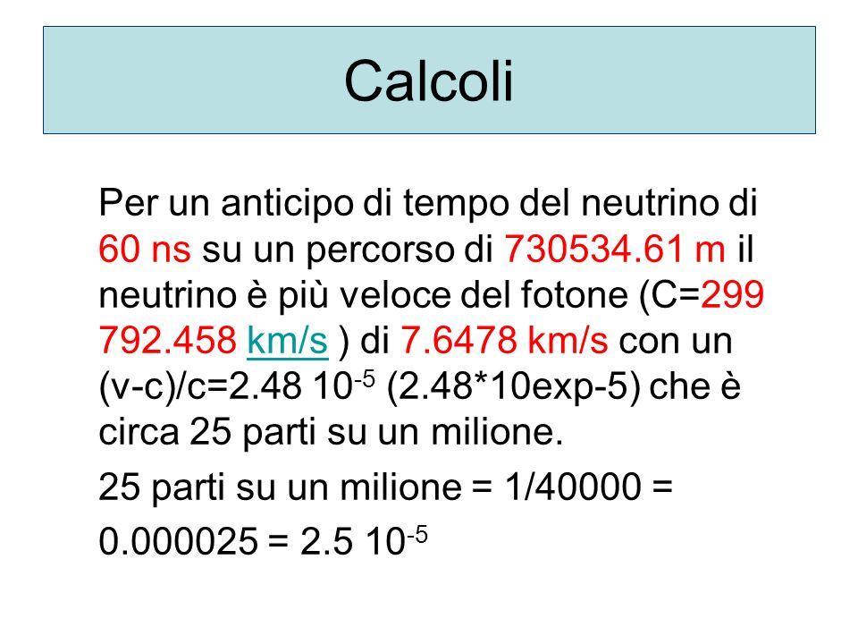 Per un anticipo di tempo del neutrino di 60 ns su un percorso di 730534.61 m il neutrino è più veloce del fotone (C=299 792.458 km/s ) di 7.6478 km/s