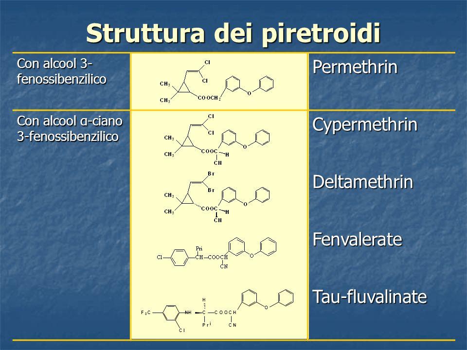 Struttura dei piretroidi Con alcool 3- fenossibenzilico Permethrin Con alcool α-ciano 3-fenossibenzilico Cypermethrin Deltamethrin Fenvalerate Tau-flu