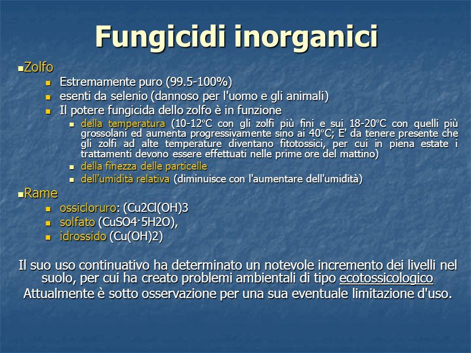 Fungicidi inorganici Zolfo Zolfo Estremamente puro (99.5-100%) Estremamente puro (99.5-100%) esenti da selenio (dannoso per l'uomo e gli animali) esen